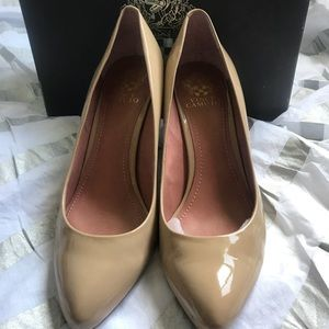 Vince Camuto Vickiy patent nude heels 9.5